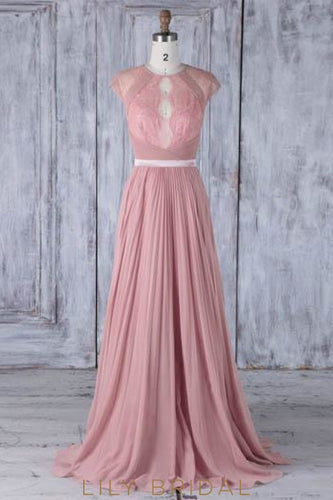 Lace Illusion Scoop Neck Sleeveless Zipper-Up Long Pleated Sheath Bridesmaid Dress
