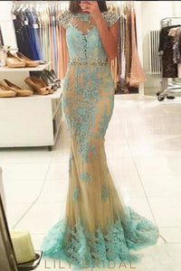Lace Rhinestone Illusion Bateau Neck Cap Sleeves Open Back Long Mermaid Prom Dress