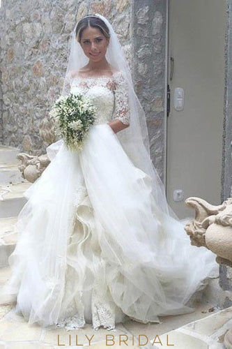 Lace Ruffles Illusion Off Shoulder Half Sleeves Long Wedding Gown with Court Train