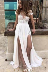 Lace Sheer Neck Short Sleeve Long Solid Slit Sheath Wedding Dress with Sweep Train