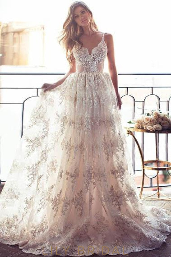 Lace Spaghetti Straps Sleeveless Backless Long Solid Wedding Gown With Sweep Train