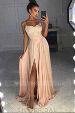 Lace Spaghetti Straps Sleeveless Long Pleated Slit Evening Dress With Sweep Train