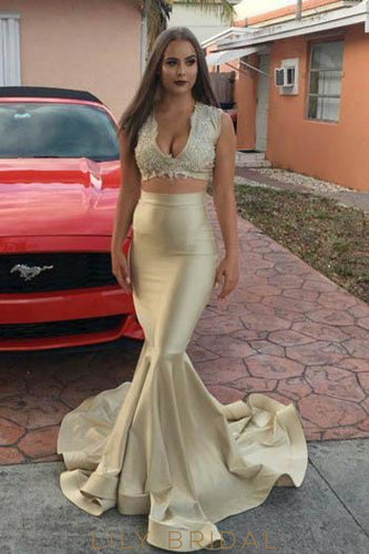 Lace V-Neck Sleeveless Two Piece Long Solid Mermaid Prom Dresses with Sweep Train