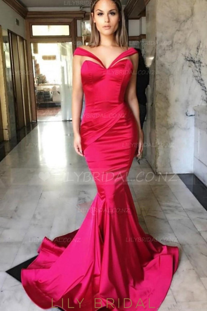 fcaec9cc8aa11 Off Shoulder Cap Sleeves Long Solid Stretch Mermaid Evening Dress with  Sweep Train