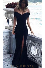Off Shoulder Short Sleeves Long Solid Slit Mermaid Evening Dress with Sweep Train