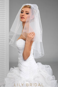 One Layer Elbow Length Pencil Edge Veil