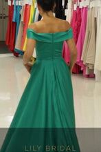 Chic Satin Off-The-Shoulder A-Line Floor-Length Prom Dress