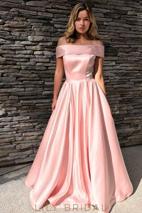 Chic Pink Satin Off-The-Shoulder A-Line Prom Dress