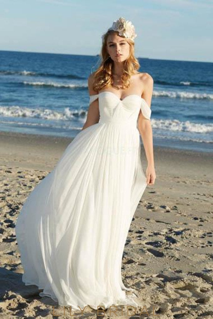 Boho Pleats Off-The-Shoulder Long Ruched Chiffon Beach Wedding Dress