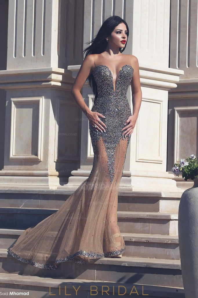 Rhinestone Sheer Scoop Neck Sleeveless Long Illusion Tulle Mermaid Evening Dress