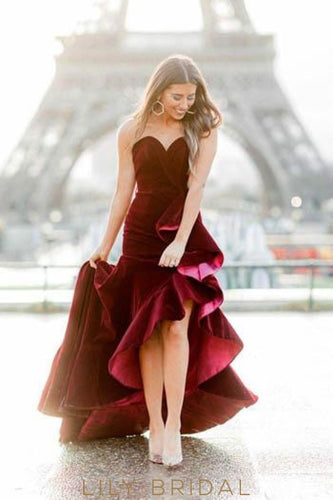 Chic Ruffles Sweetheart Sleeveless Asymmetrical Solid Velvet Burgundy Evening Dress