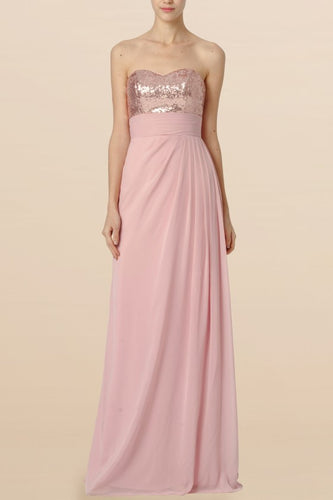 Sequin Bridesmaid Dress Sweetheart Sleeveless Floor-Length Sheath Wedding Guest Dress