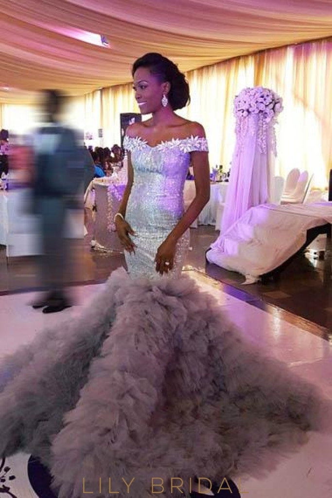 Luxury Sequin Floral Off Shoulder Long Stretch Mermaid Tulle Prom Dress