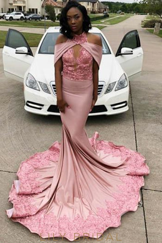 Sequin Lace High Neck Cold Shoulder Long Solid Mermaid Prom Dress With Sweep Train