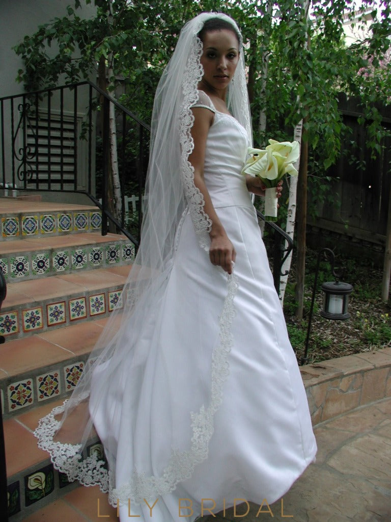 Chic One Layer Silk Effect Floor Length Veil with Lace Applique ...