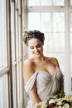 Chiffon Grey Pleated Empire Waist Off-The-Shoulder Wedding Dress
