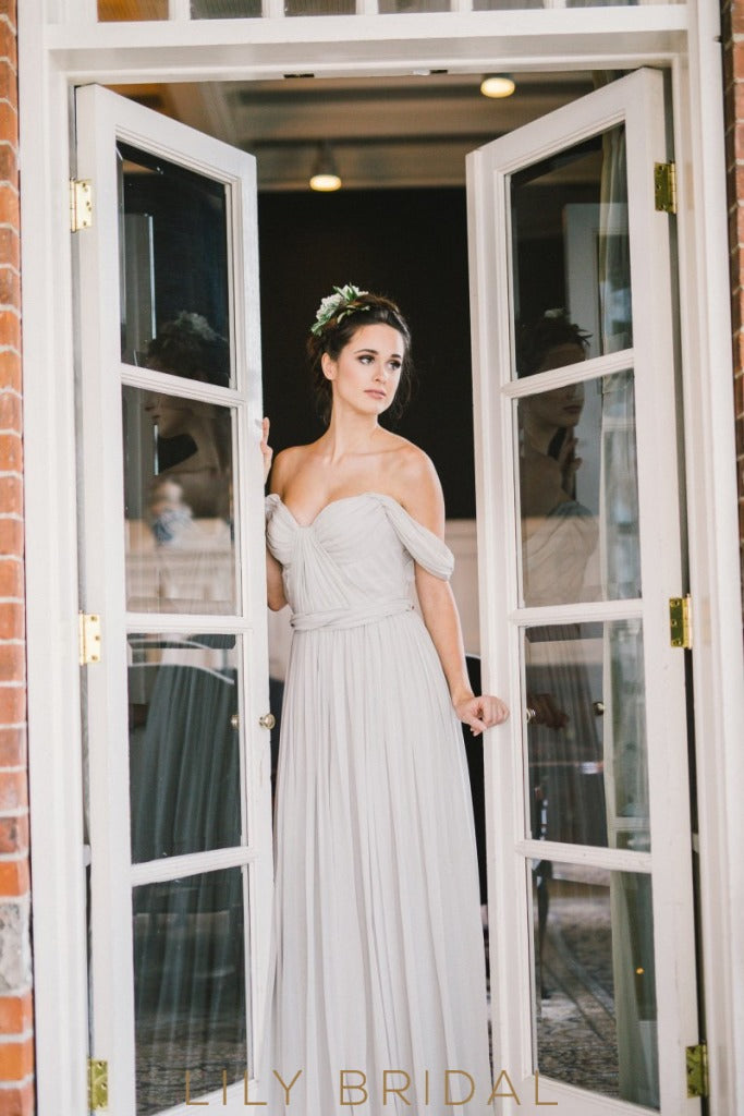 Chiffon A-Line Grey Pleated Off-The-Shoulder Wedding Dress