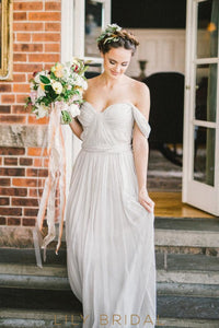 Chiffon A-Line Grey Pleated Empire Waist Off-The-Shoulder Wedding Dress
