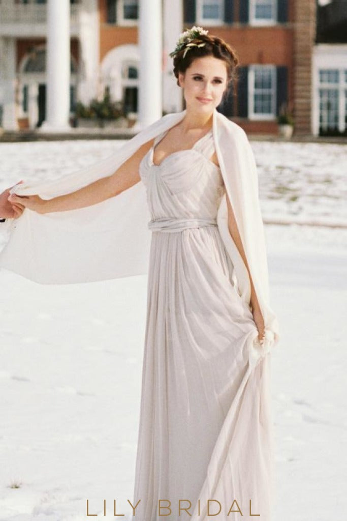 Chiffon A-Line Grey Pleated Empire Waist Wedding Dress