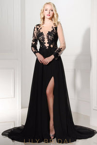 Chiffon A-line Long Sleeve Thigh-High Slit Sheer Neck Prom Dress