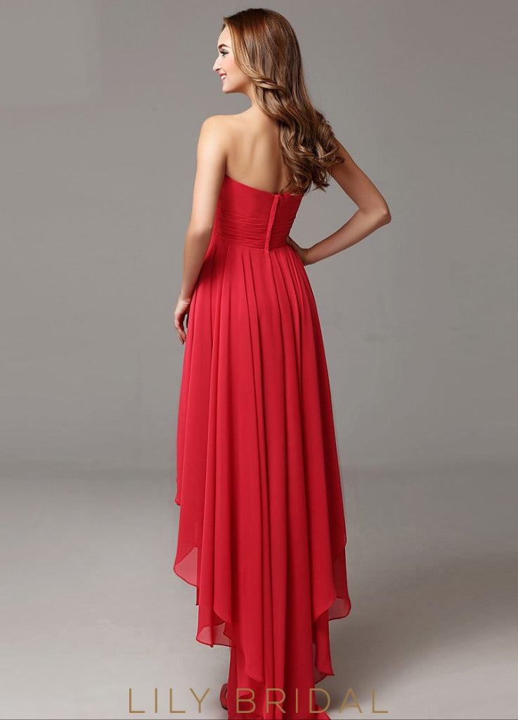 A-line Strapless Sweetheart High-Low with Empire Waist Prom Dress