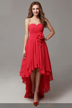 Chiffon A-Line Strapless Sweetheart High-Low Empire Waist Ruffled Prom Dress