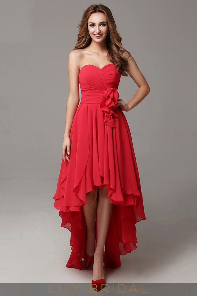 Chiffon A-line Strapless Sweetheart High-Low with Empire Waist Prom Dress