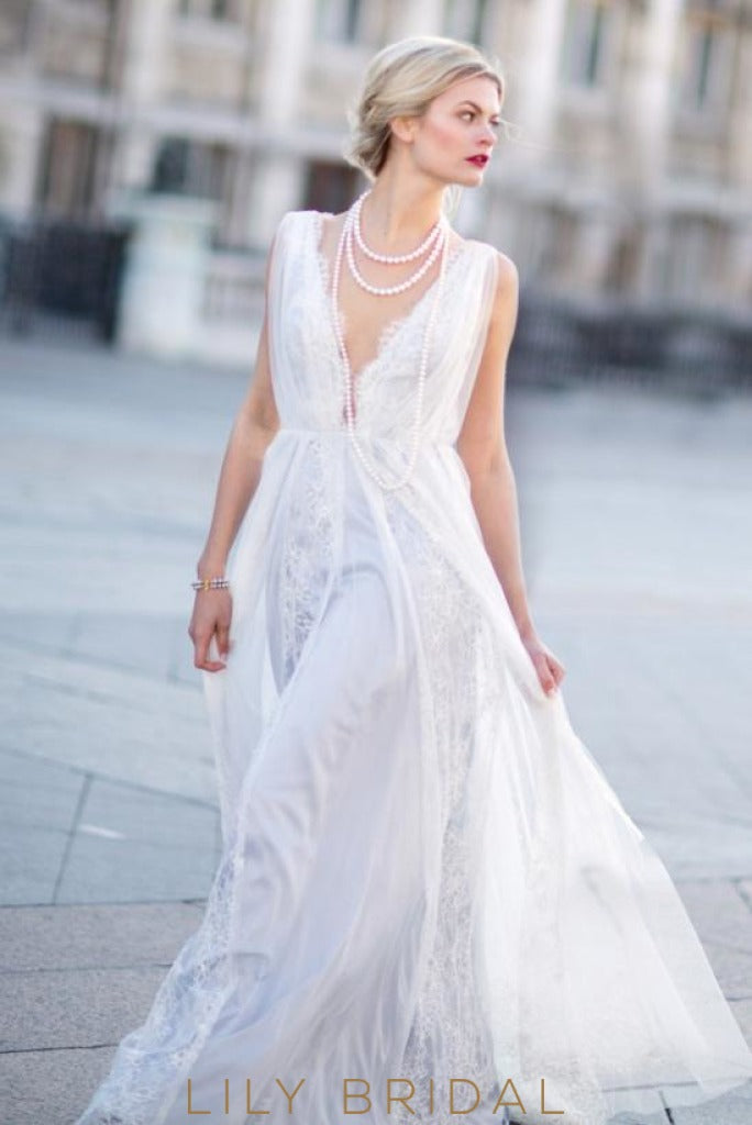 Chiffon and Lace Modern A-line Light Blue Wedding Dress with Plunging V-neckline
