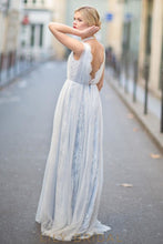 Chiffon and Lace Modern Light Blue Wedding Dress with Plunging V-neckline