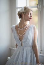 Chiffon and Lace Modern A-line Light Blue Wedding gown with Plunging V-neckline