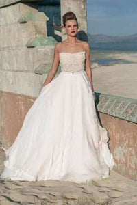 Chiffon Backless Straight Across Neckline Beach Bridal Dress With Lace Bodice