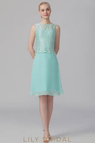 Chiffon Bateau Neckline Short Bridesmaid Dress With Floral Lace Top