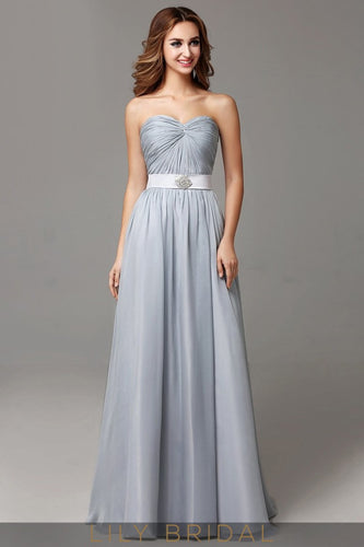 Chiffon Steel Grey A-Line Floor-length Strapless Sweetheart Prom Dress With Waistband
