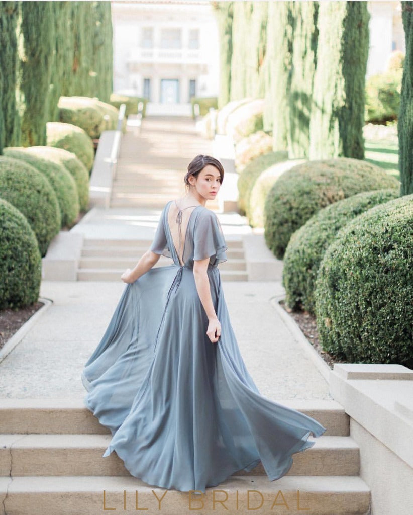 A-Line Chiffon Floor Length Bridesmaid Dress with Flutter Sleeve