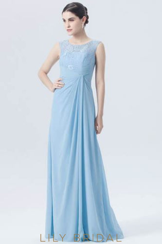 Chiffon Jewel Neck Empire Waist Floor-Length Bridesmaid Dress With Illusion Lace Bodice