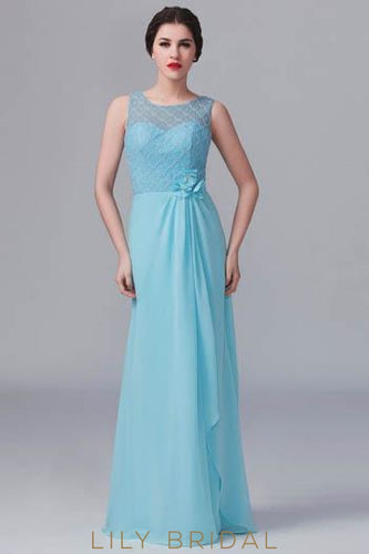 Chiffon Jewel Neck Floor-Length Illusion Bridesmaid Dress With Hand-Made Flowers