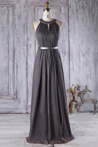 Chiffon Jewel Neck Floor-Length Ruched Bridesmaid Dress With Waistband