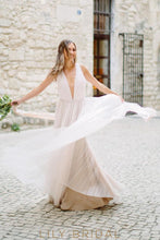 Chiffon Long Wedding Dress with Plunging V-neckline