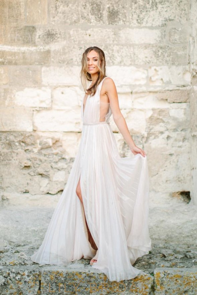 Chiffon Wedding Dress with Plunging V-neckline Sleeveless