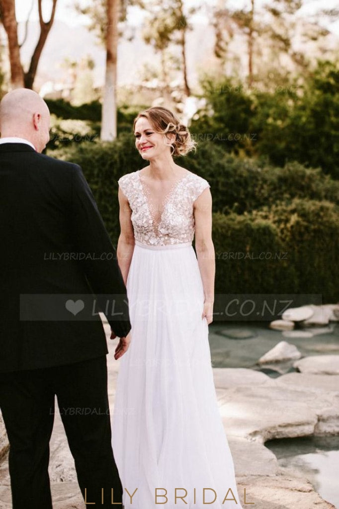 Boho Chiffon Low V-Neck Floor-Length Bridal Dress With Illusion Sequin Bodice