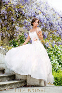 Chiffon Off-The-Shoulder Cap Sleeve Bridal Dress With Lace