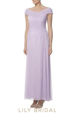 Chiffon Off-The-Shoulder Lavender Bridesmaid Dress With Cap Sleeve