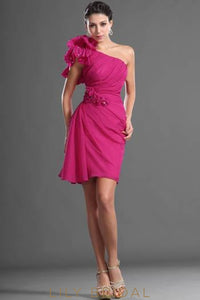 Chiffon One-Shoulder Beaded Corsage Cocktail Dress With Ruching