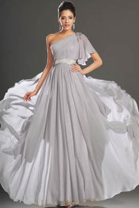 Chiffon One-Shoulder Formal Evening Dress With Flutter Sleeve