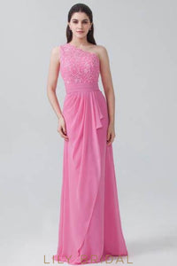 Chiffon One-Shoulder Overlap Bridesmaid Dress With Applique