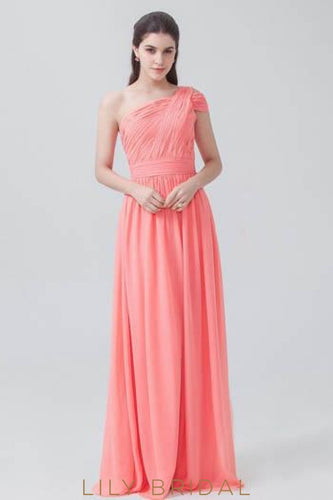 Chiffon One-Shoulder Sweep Train Bridesmaid Dress With Ruching