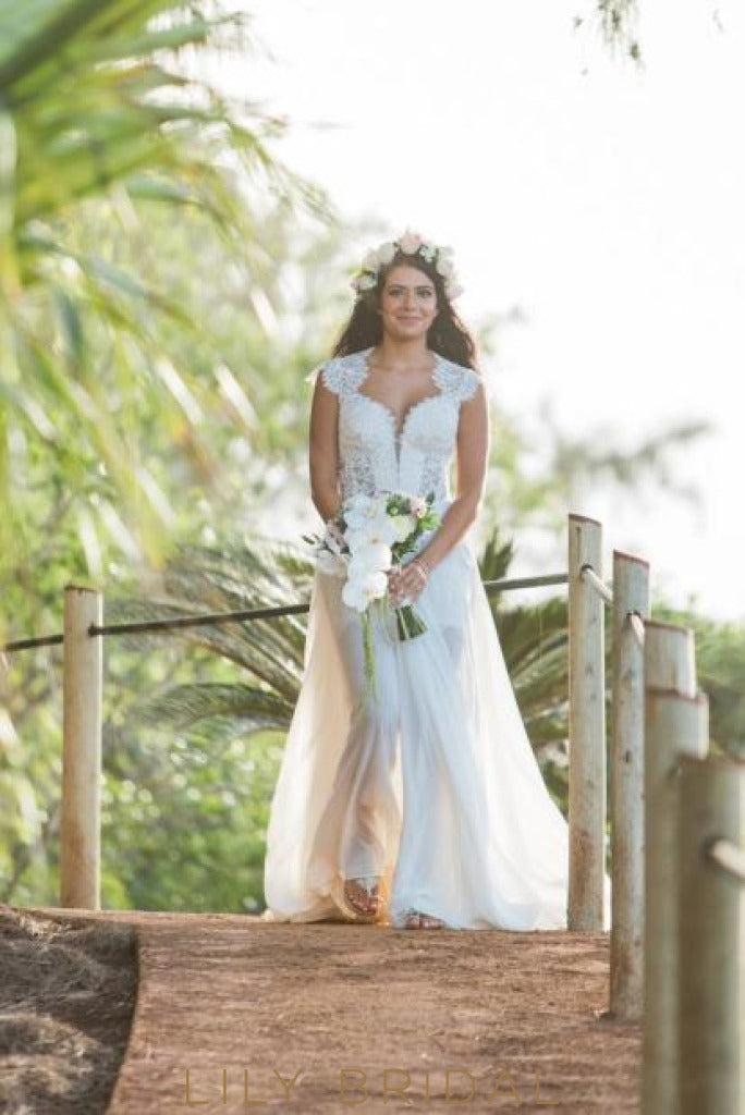 Overskirt Short Informal Bridal Dress with Queen Anne Neckline