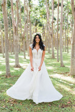 Chiffon Overskirt Informal Bridal Dress with Queen Anne Neckline