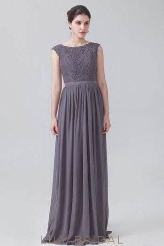 Chiffon Pleated Bridesmaid Dress With Bateau Neck Lace Bodice