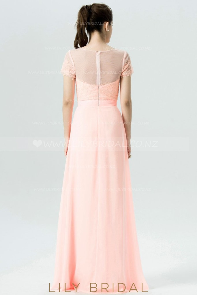 Chiffon Short Sleeve Illusion Bridesmaid Dress With Lace